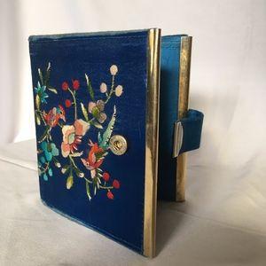 Vintage Embroidered Satin & Gold-tone Wallet